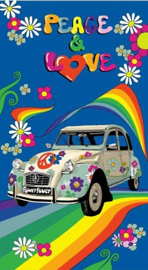 Coche Escarabajo Asditex Toalla Playa Microfibra Estampada Hippie Peace /& Love 100 x 180 cm