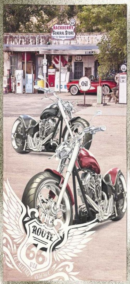 TOALLA DE PLAYA 100x180 MOTO ROUTE 66